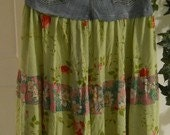 Fleur  Bohème jean skirt peridot rose pink fuchsia gypsy lime green summer cotton Renaissance Denim Couture funky bohemian  boho chic