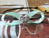 Infinity Lace Headband: Handmade with a Light Mint Green Scallop Lace Zipper with Heart Shaped Fabric Button