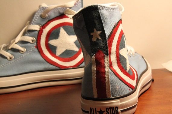 RESERVED FOR LS Captain America themed handpainted Converse