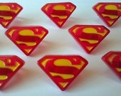 Superman shield cupcake rings picks or cake toppers, great for your next super hero justice league boy birthday party or as treat bag favors