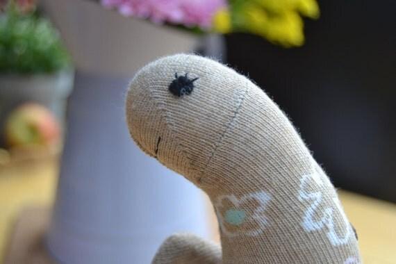 Brown/ pink/blue flower sock doll- dinosaur