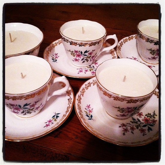Vintage Teacup Candle With Soy Wax