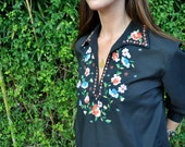 1970s Boho Mexican Embroidered Blouse