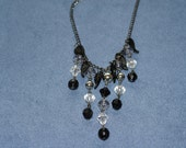 Black and silver necklace and earrings set