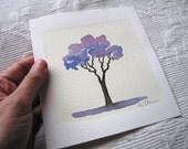 Original Watercolor painting Jacaranda tree - Aguarela original Árvore Jacarandá