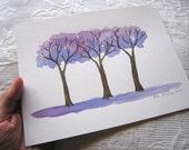 "Original watercolor painting ""Jacaranda trees"" - Aguarela original ""Jacarandás"""