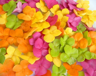 Fondant Edible Hydrangea Petals Decoration 100 qty - choose any colors for cupcakes, wedding cakes, birthday cakes, cupcake topper