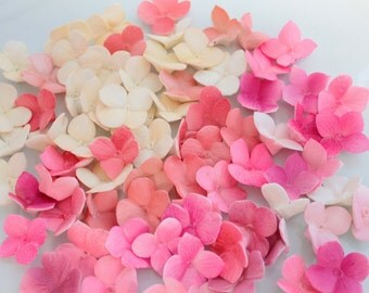 Fondant Hydrangea Petals Decoration 100 qty - ivory, coral pinks, magentas for cupcakes, wedding cakes