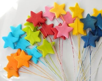 Fondant dible Cake Decoration Stars, Shooting Stars 24 qty choose your colors