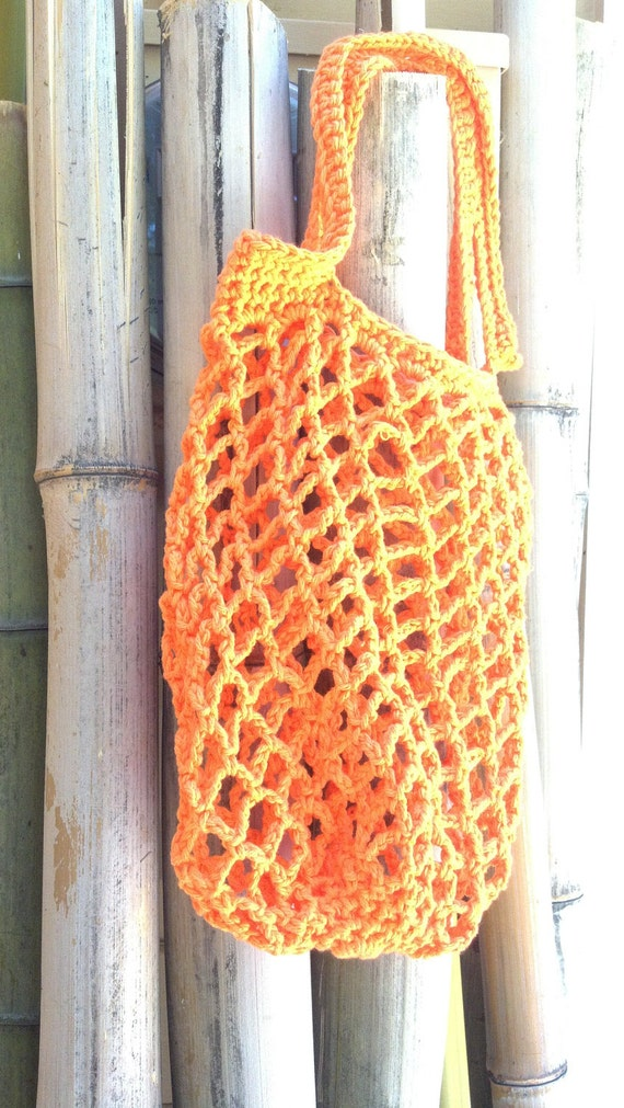 Bright Orange Crochet Mesh Bag