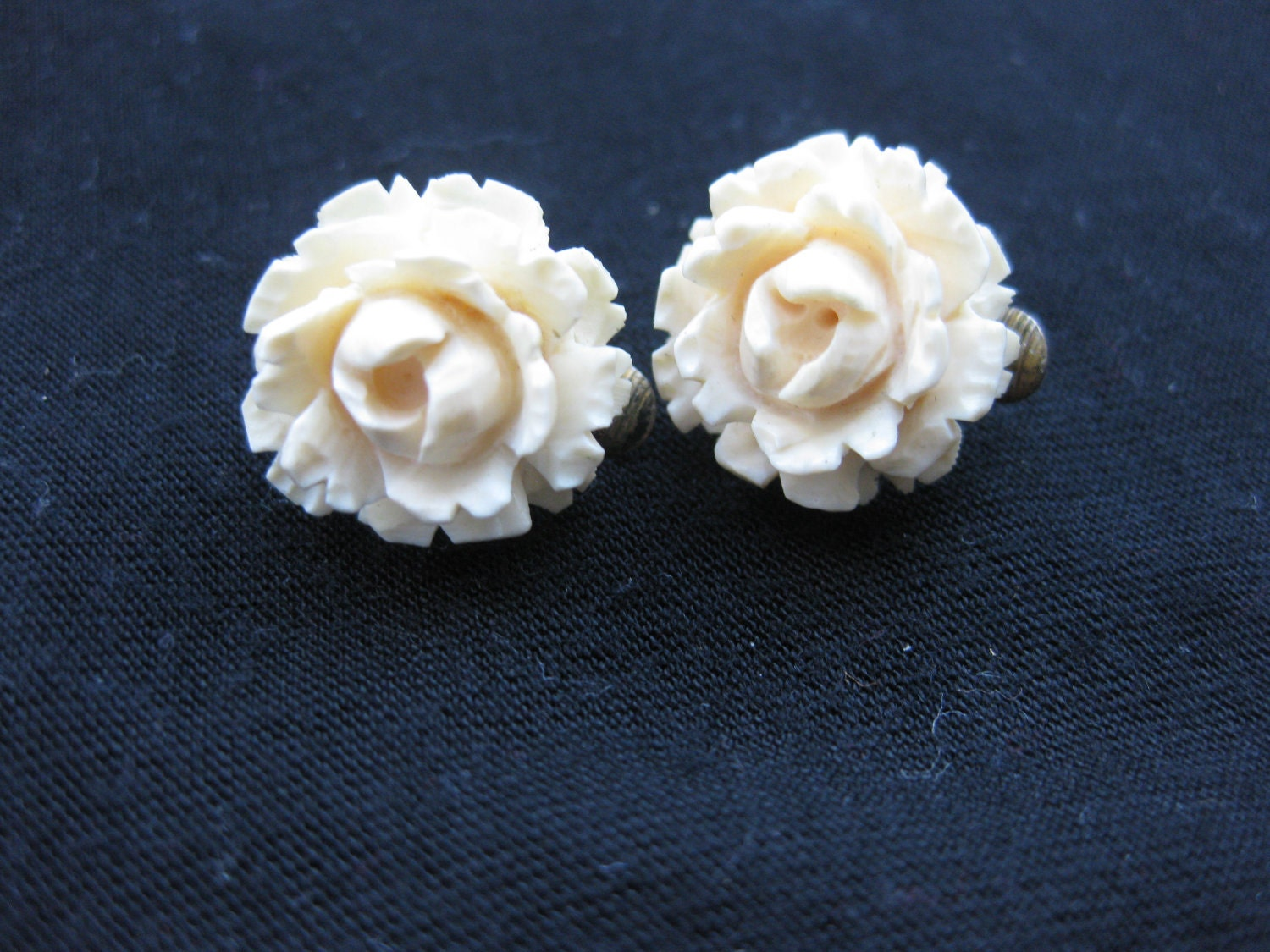 Items Similar To Antique Carved Ivory Rose Clip On