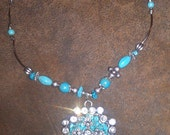 Turquois and Silver Cross Necklace