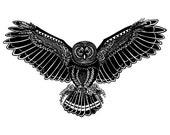 Black and White Owl Illustration - Archival Art Print