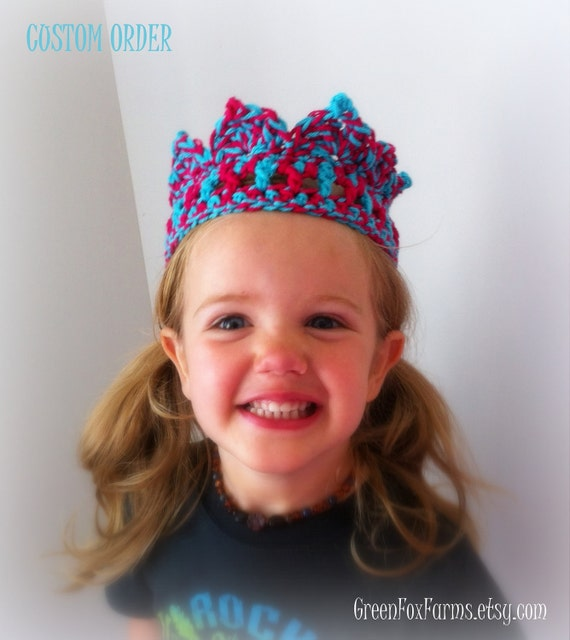 RESERVED Hot Pink and Teal Crochet Birthday Crown CUSTOM ORDER Reserved Listing