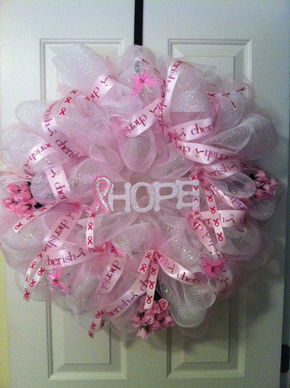 Items Similar To Breast Cancer Deco Mesh Wreath On Etsy