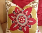 Custom Braemore Silsila Ikat Suzani Print Pillow Cover