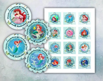 Ariel The Little Mermaid Thank You cards 2 inch round images Printable
