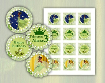Tiana Princess and the Frog Happy Birthday cupcake toppers 2 inch images Printable