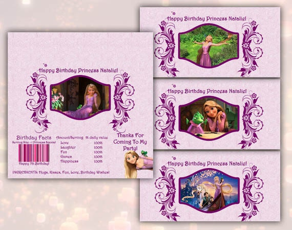 Tangled Rapunzel Big Candy Bar Wrappers Printable