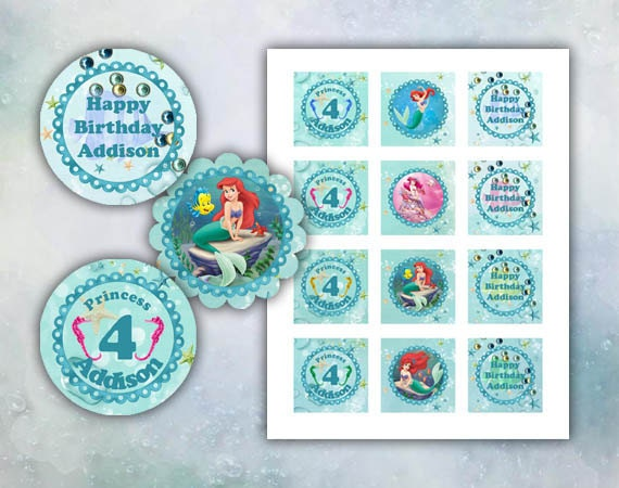 Ariel The Little Mermaid Happy Birthday cupcake toppers 2 inch images Printable