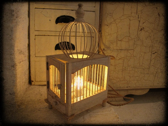 white wooden birdcage table lamp