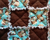 Rag Baby Quilt - Owls