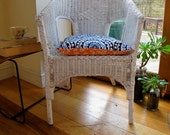 1 x restored white cane wicker chair, double-sided retro cushion