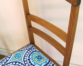 Restored occasional timber chair, slim and bright