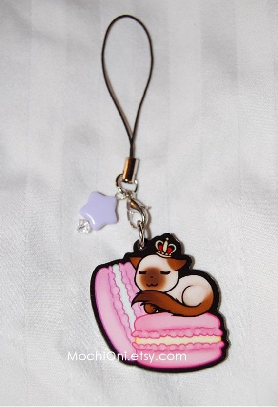 Macaroon Kitty Charm with bell or star bead