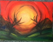 Acrylic painting on canvas paper original land scape