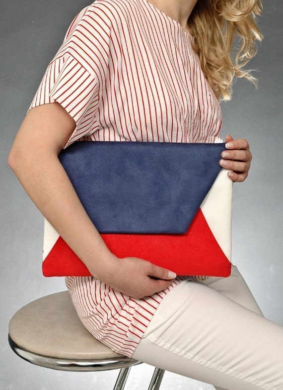 "Oversize Envelope Clutch ""Marine""READY TO SHIP"