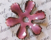Vintage Copper Plated Glass Enamel Flower Lilac Rose, Hand Enameled, Six Petals, Bead Caps 19mm