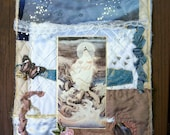 Art Quilt Fiber Collage Wall Hanging  Mixed Media White Blue & Mauve Kwan Yin Dragonfly Buddhist