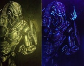 Cyber Sub-Zero invisible UV painting on canvas (glows blue under black light)