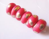 Red and Gold round handmade, hand painted beads-10mm