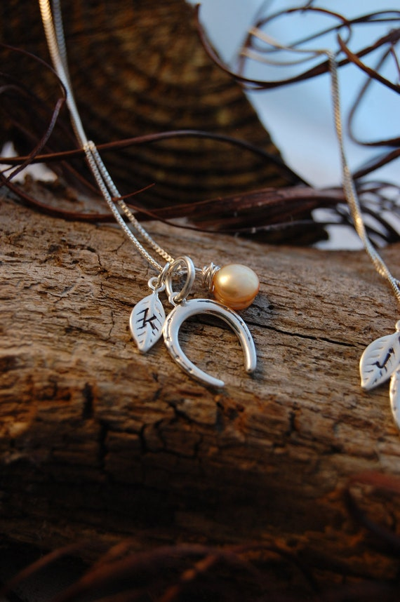 Sterling Silver Horse Shoe,Hand- Stamped Initial Leaf and Wire-Wrapped Pearl Necklace