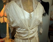 Vintage Antique 1917 Edwardian Ecru Silk Lace Wedding Dress with Pearl Trim
