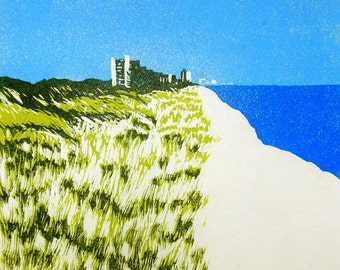 Morning Walk on the Gulf linocut relief print