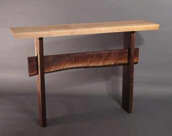 Console Table w/ Live Edge Stretcher- Mid Century Modern Hall Table, Entry Console, Narrow Buffet Table- STATEMENT COLLECTION