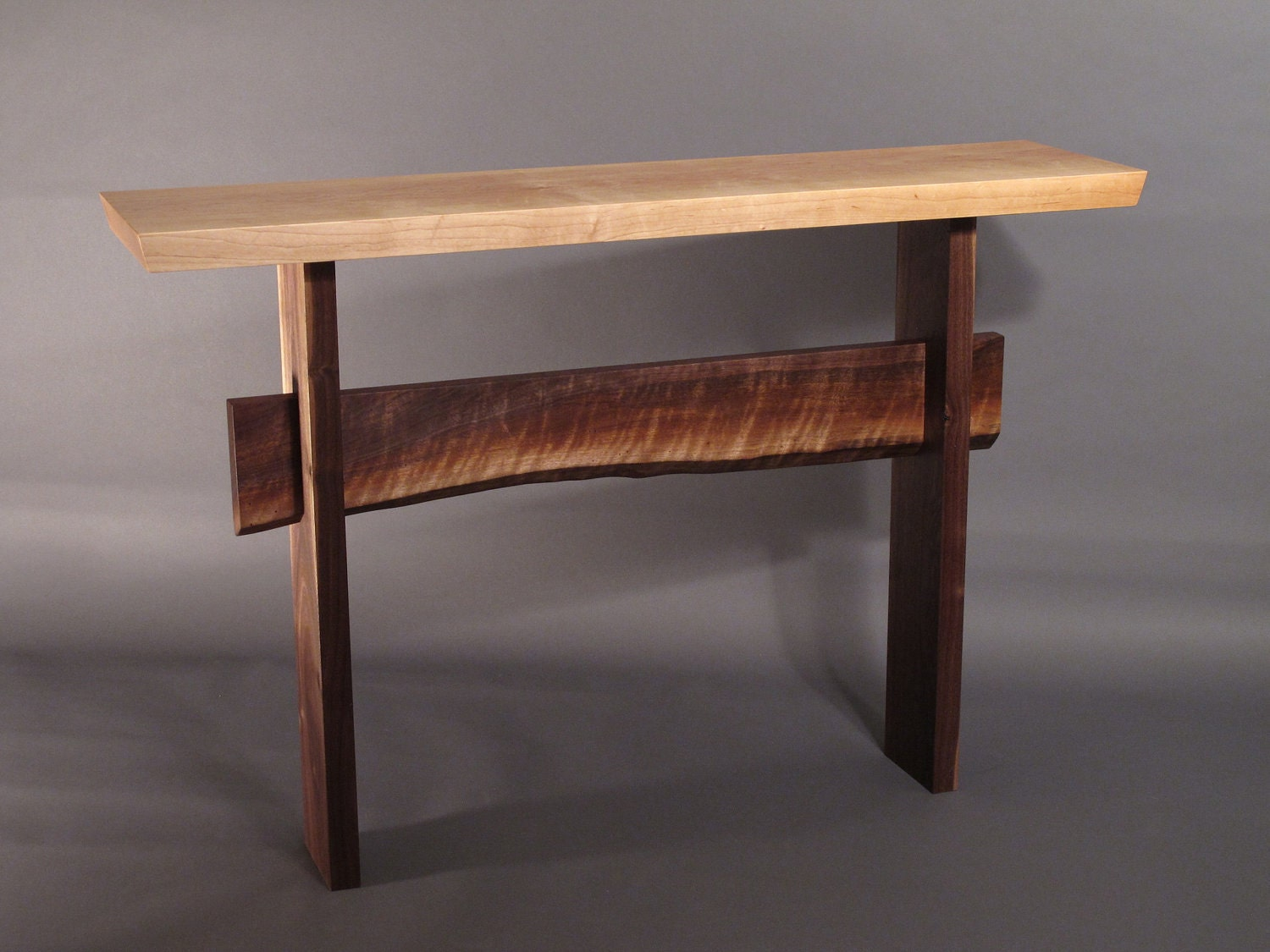 Console Table W Live Edge Stretcher Minimalist Modern Hall
