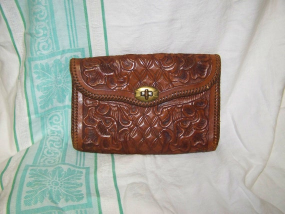 Leather Clutch Tooled Leather Clutch Vintage Leather Purse