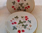 Vintage Strawberries n Cream Stoneware Sheffield plates