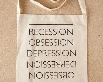 The Great Recession Tote Bag / Recession Tote Bag, Typography Tote Bag, Statement Tote Bag, Funny Tote Bag, Graphic Tote, Screenprint Tote