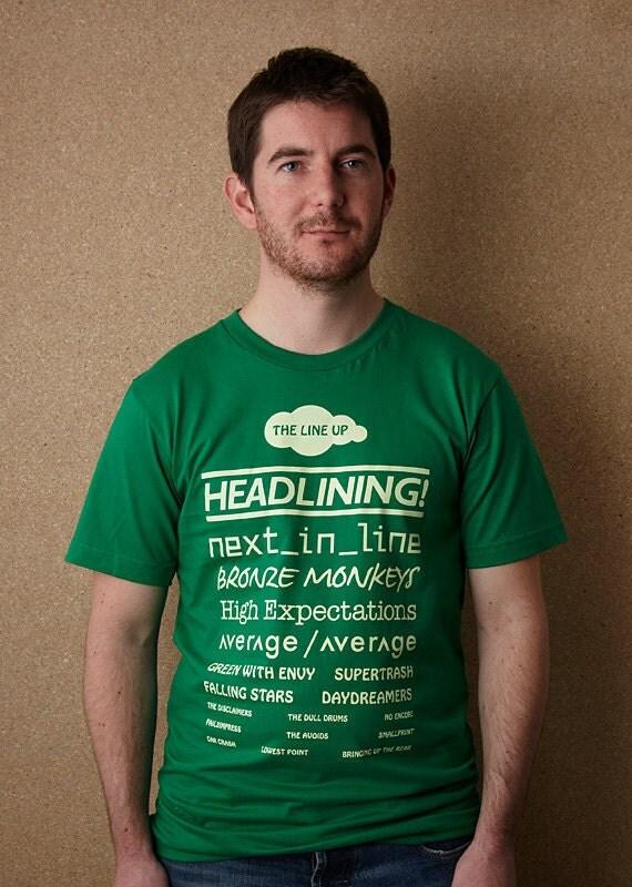 The Line Up T Shirt / Festival T Shirt, Graphic T Shirt, Screenprint T Shirt, Mens Screenprinted Tee, Band T Shirt, Gig T Shirt