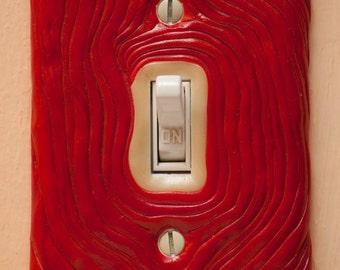 Red roots polymer clay switch plate cover