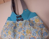 Price Down // Cotton Chevron Sky Blue Elegant Flower Tote Bag with Bow Brooches and Lovely Cat.