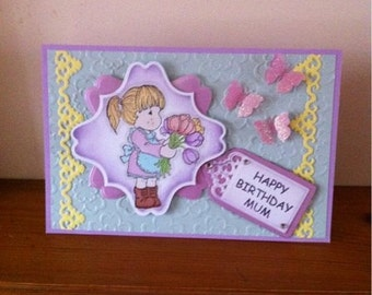 Handmade Boxed A5 Size Birthday Card With Magnolia Tilda Image