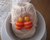 Orange Yellow crochet ball earrings with yellow glass beads,  summer accessory
