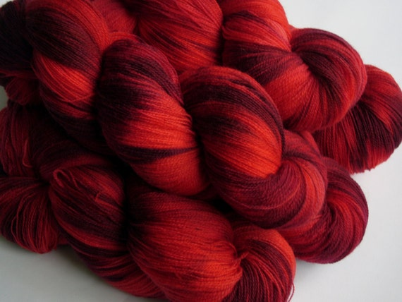 Hand dyed cobweb lace weight Superwash Merino with Nylon   - Ripping Red