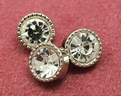 Rhinestone buttons - 3pcs 11mm nickel silver and crystal color